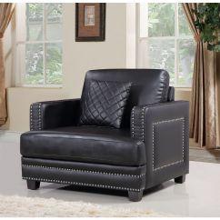 Black Leather Sofa With Nailheads Rozkladana Z Materacem Kieszeniowym Meridian Furniture 655bl C Ferrara Arm Chair W Silver Nailhead Quilted Pillow By