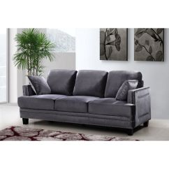 Grey Sofa With Silver Nailheads Cover Set Meridian Furniture 655gry S Ferrara Velvet W