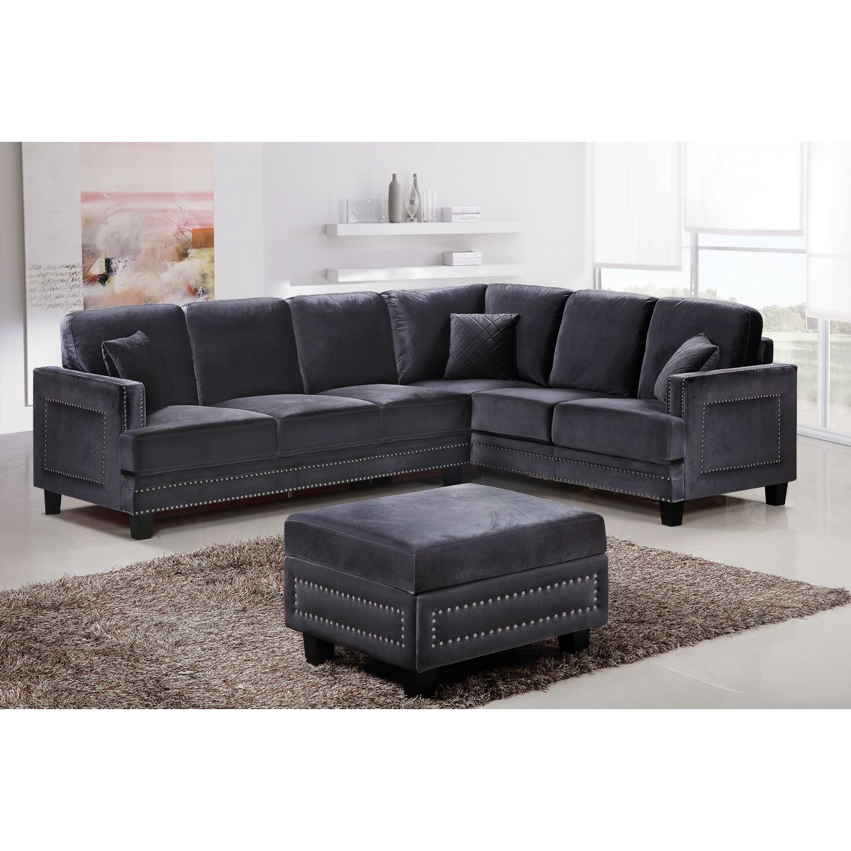 sofa nailhead mickey bed gray with trim velvet