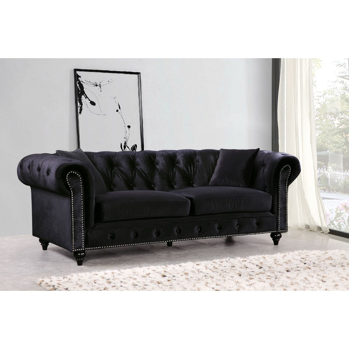 grey sofa with silver nailheads repair springs in black velvet sofas foter thesofa