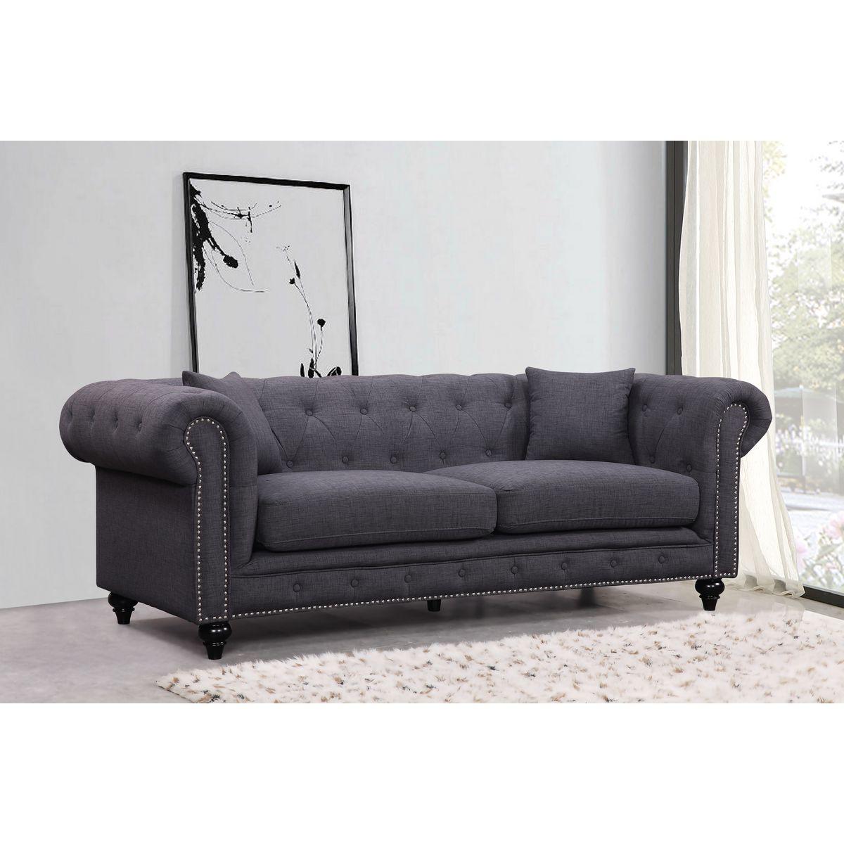 gray linen tufted sofa clean leather with fabric softener grey nailhead ferrara velvet free