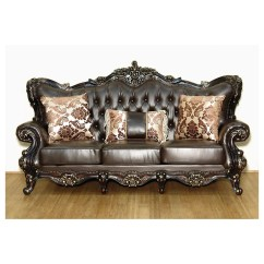 Tufted Brown Leather Sofa Indoor Wicker And Loveseat Meridian Furniture 675 S Barcelona On Rich Cherry Frame W Ornate Carving