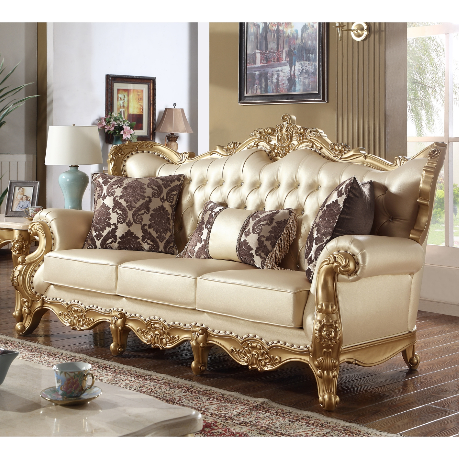 gold leather sofa set pet protector for sectional home the honoroak