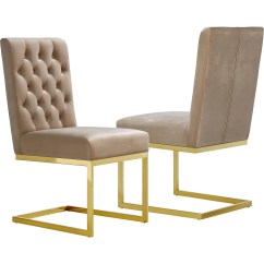 Gold Dining Chairs Wing Chair Slipcover Ikea Meridian Furniture 712be C Cameron Beige Tufted Velvet On Stainless Steel Base Set Of 2