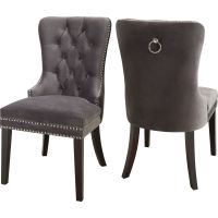 Meridian Furniture 740Grey-C Nikki Dining Chair in Tufted ...