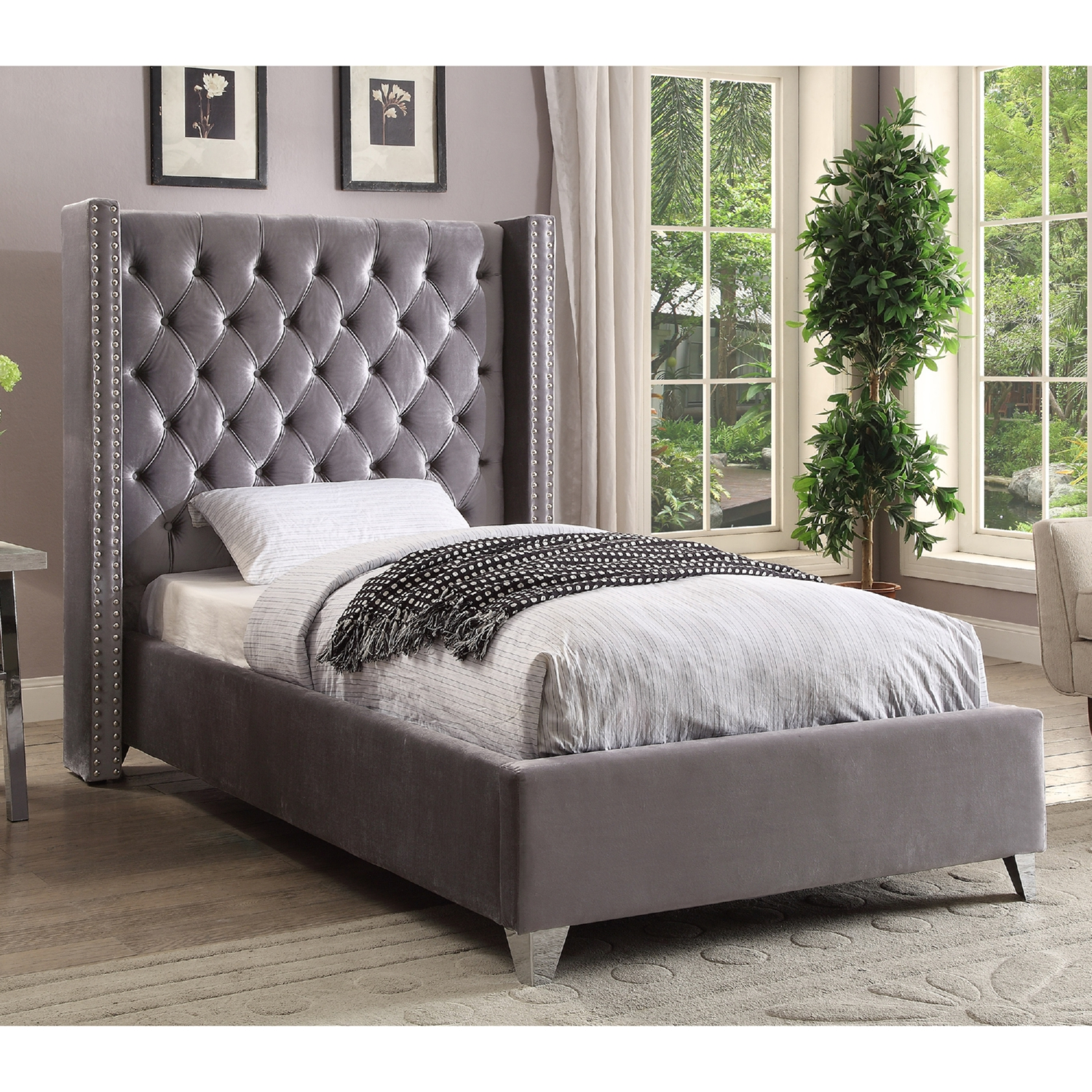velvet grey tufted sofa free pick up uk meridian furniture aidengrey-t aiden ...