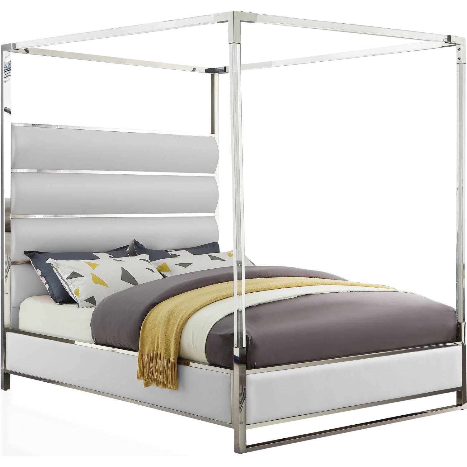 meridian encorewhite q encore canopy queen bed in white leatherette acrylic chrome