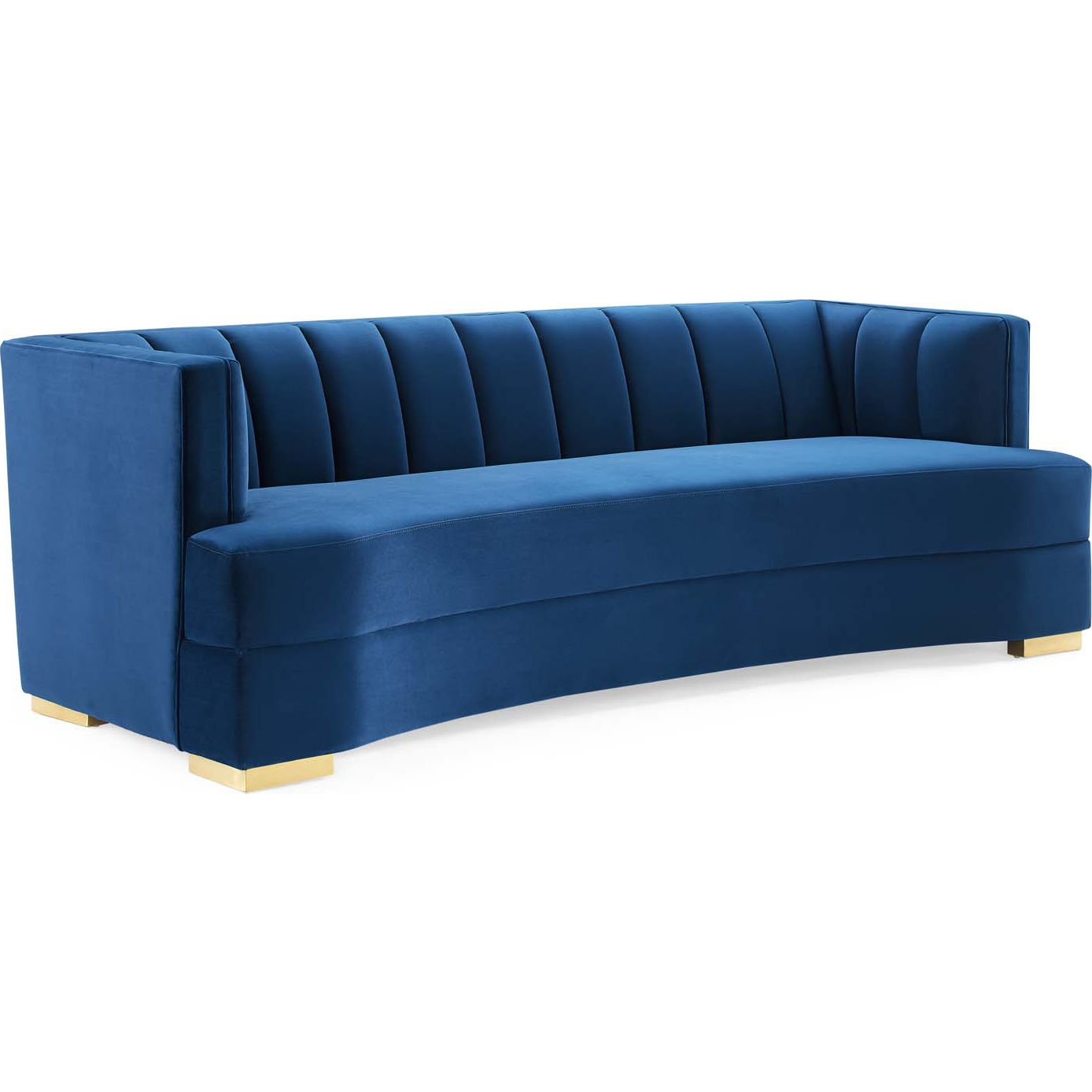 Modway Eei 4134 Nav Encompass Curved Sofa In Channel Tufted Navy Blue Velvet Gold