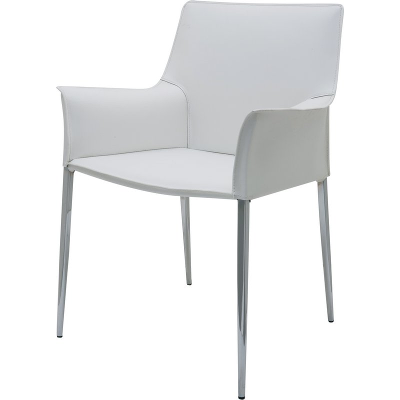 modern leather dining chairs with arms pride go chair nuevo furniture hgar399 colter arm in white w chrome legs