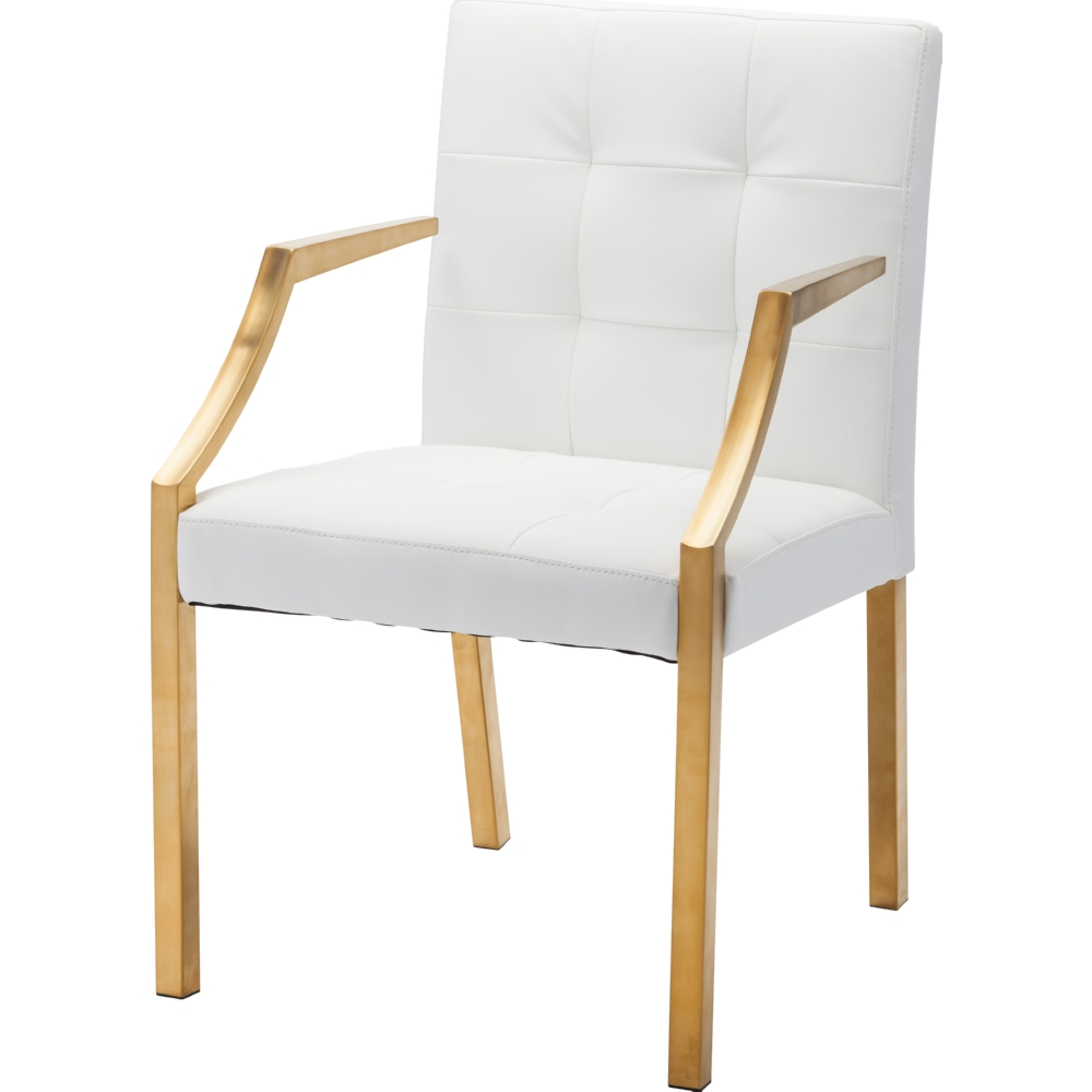 white and gold chair waffle bungee target nuevo modern furniture hgtb346 paris dining w tufted seating arms