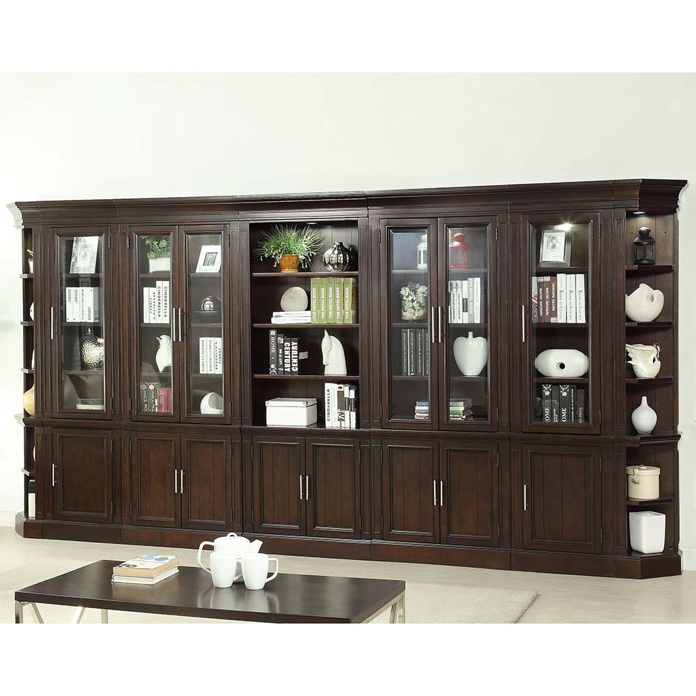 Parker House STA7PC BW Stanford Library 7 Piece Bookcase Wall In Light Vintage Sherry