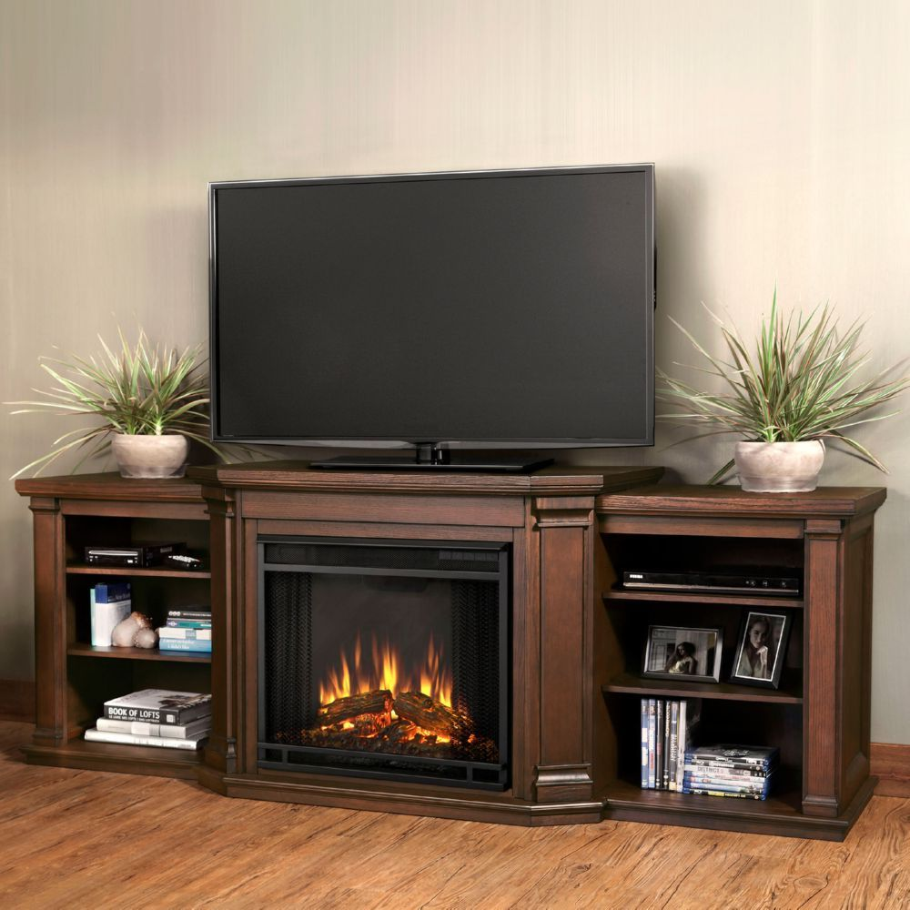 Real Flame 7930ECO Valmont TV Stand w Ventless Electric Fireplace in Chestnut Oak