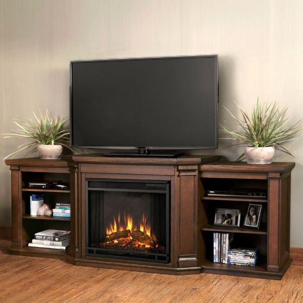 Real Flame 7930e- Valmont Tv Stand With Electric Fireplace