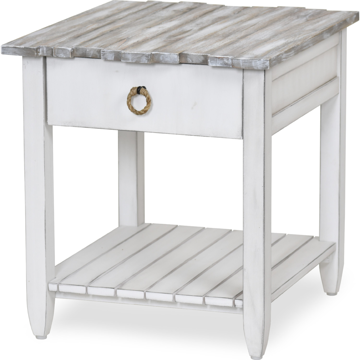 Picket Fence End Table In Distressed Grey White By Sea Winds