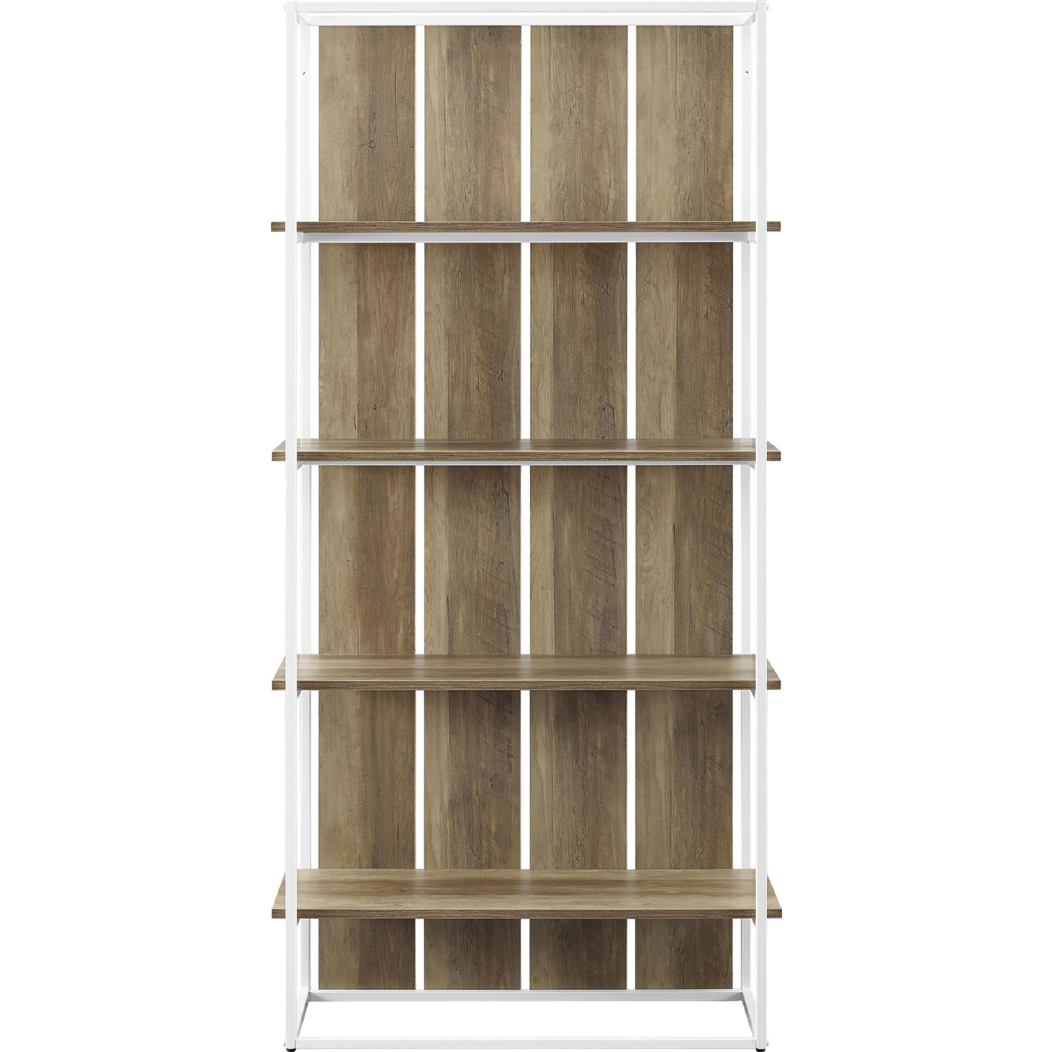 64 Farmhouse Bookcase In Rustic Oak White Metal By Walker Edison