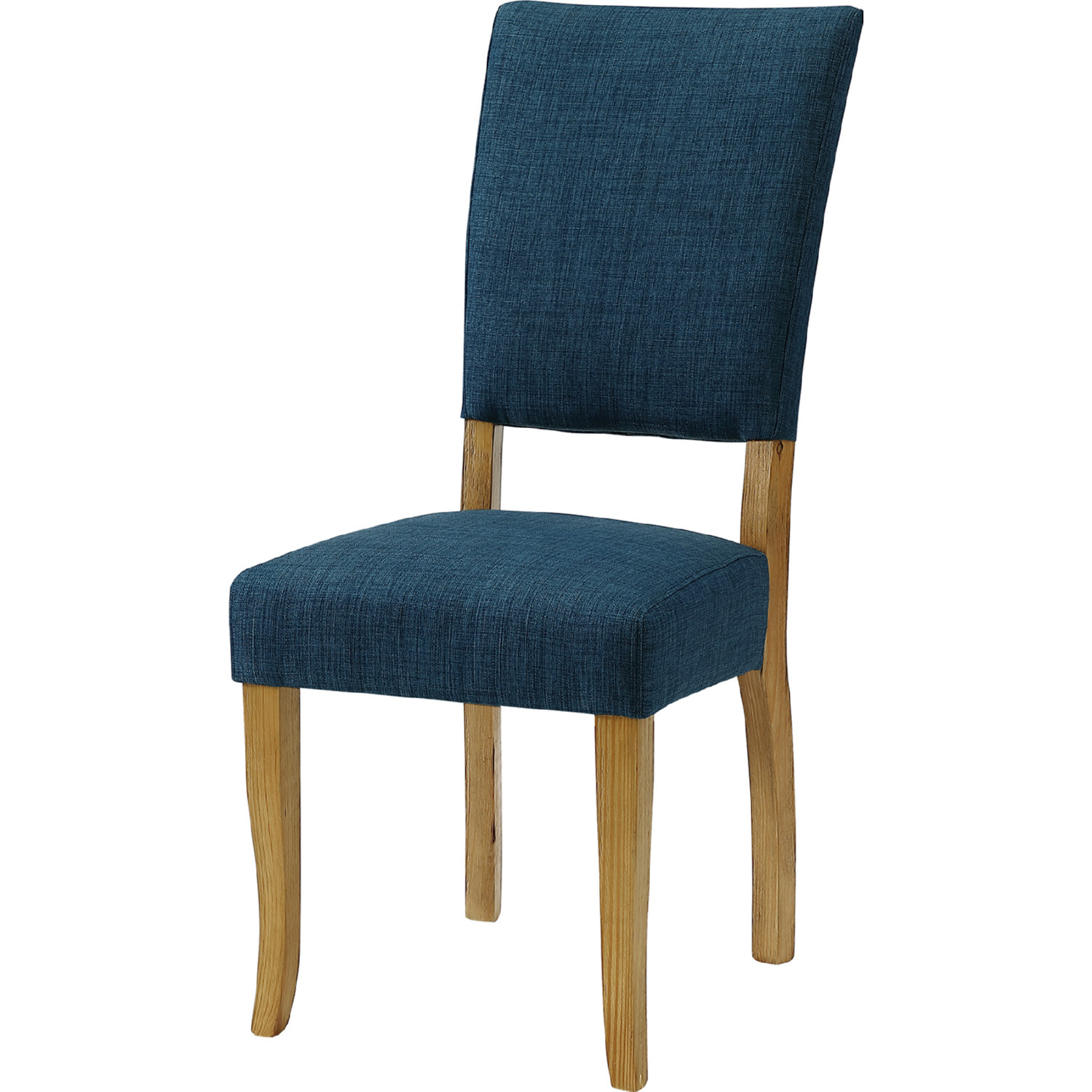 Parsons Dining Chair In Blue Leatherette Wood Set Of 2 By Walker Edison