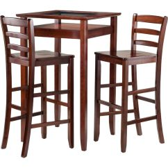 Pub Table And Chairs 3 Piece Set 2 Chair With Nailhead Trim Winsome 94386 Halo W Ladder Back Stools In Walnut