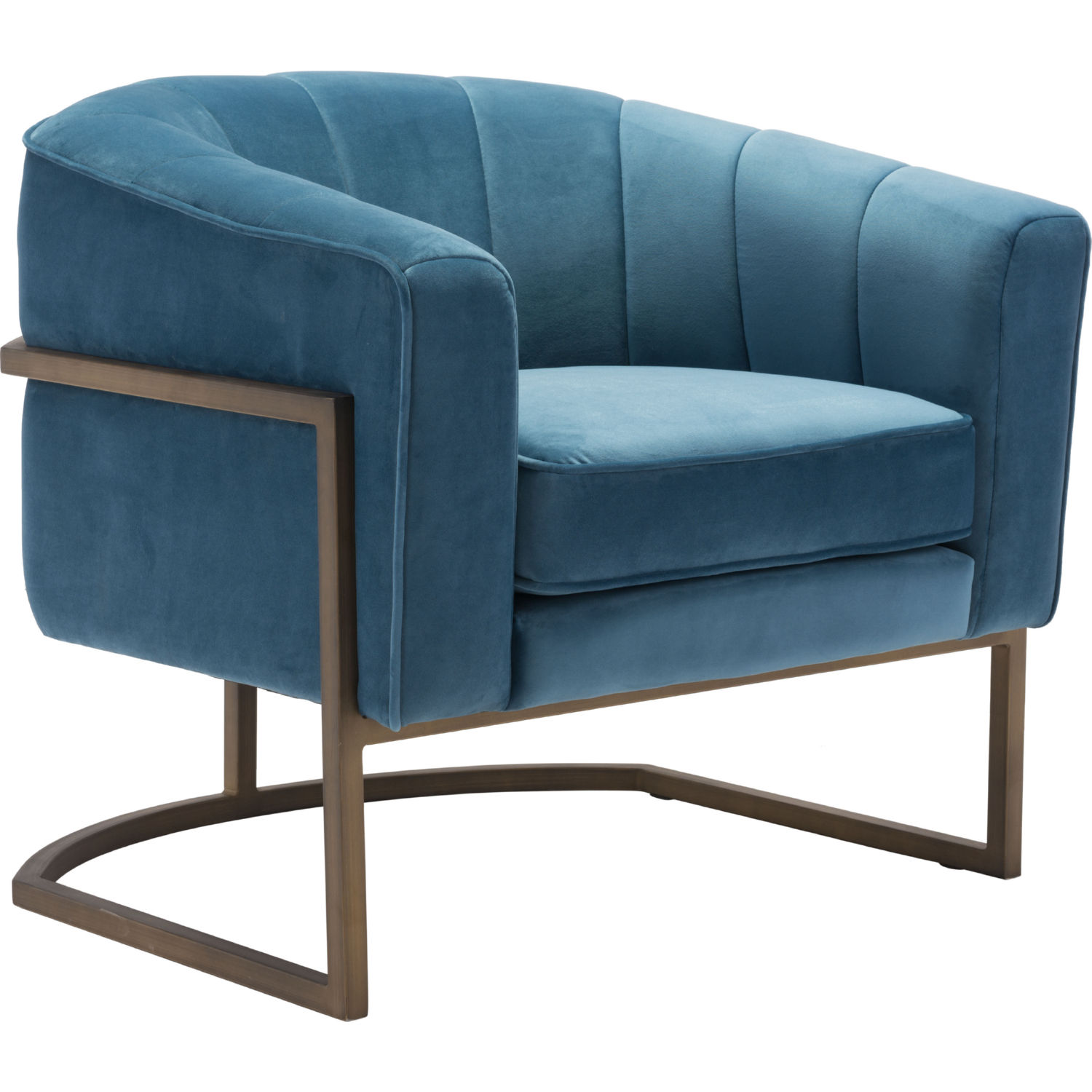 Lyric Accent Chair In Channel Tufted Blue Velvet By Zuo