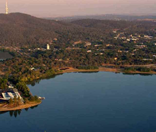 Aerial View Of Lake Burley Griffin Canberra