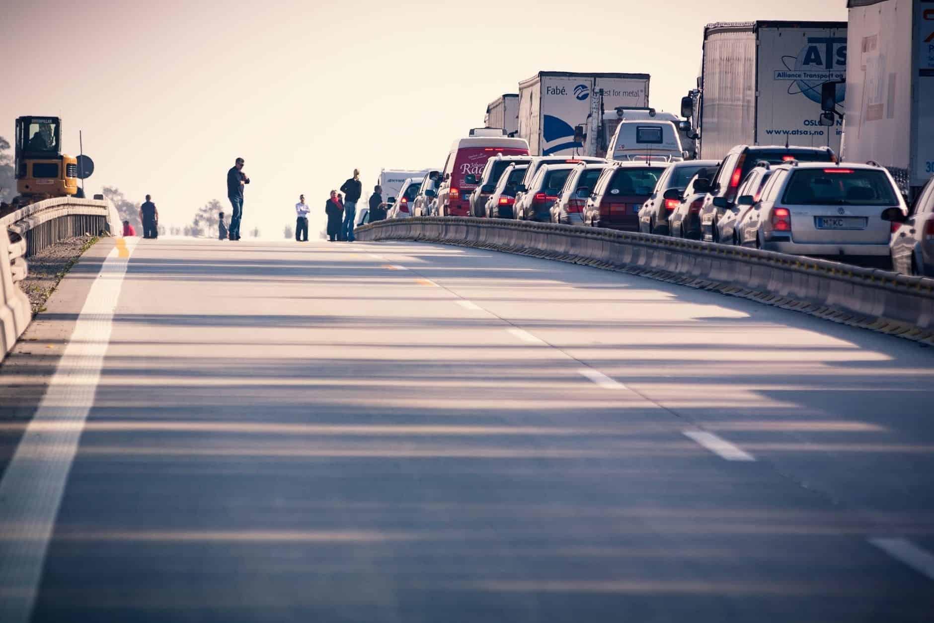 truckers in traffic