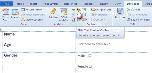 word forms04   Make A Fillable Form In Word 2010 & Collect Data The Easy Way