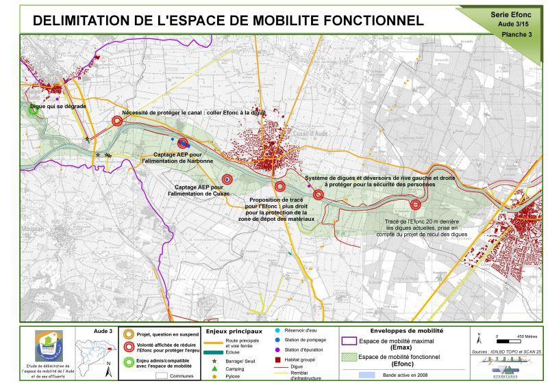 Cartographie de délimitation de l'espace de mobilité fonctionnelle