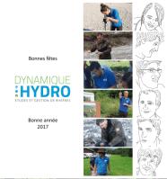 Carte de vœux 2016-2017 de Dynamique Hydro - Partie recto avec les photos des 6 membres de l'équipe et leurs portraits dessinés à main levée