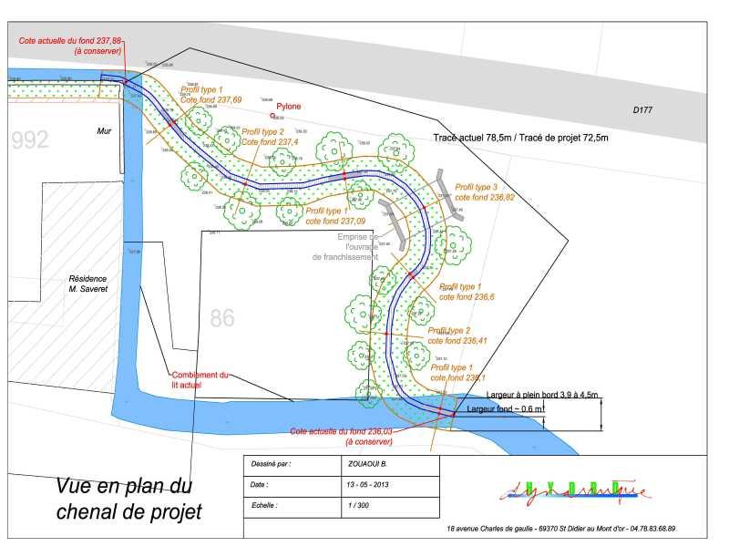 Plan autocad du projet de restauration de la Denante