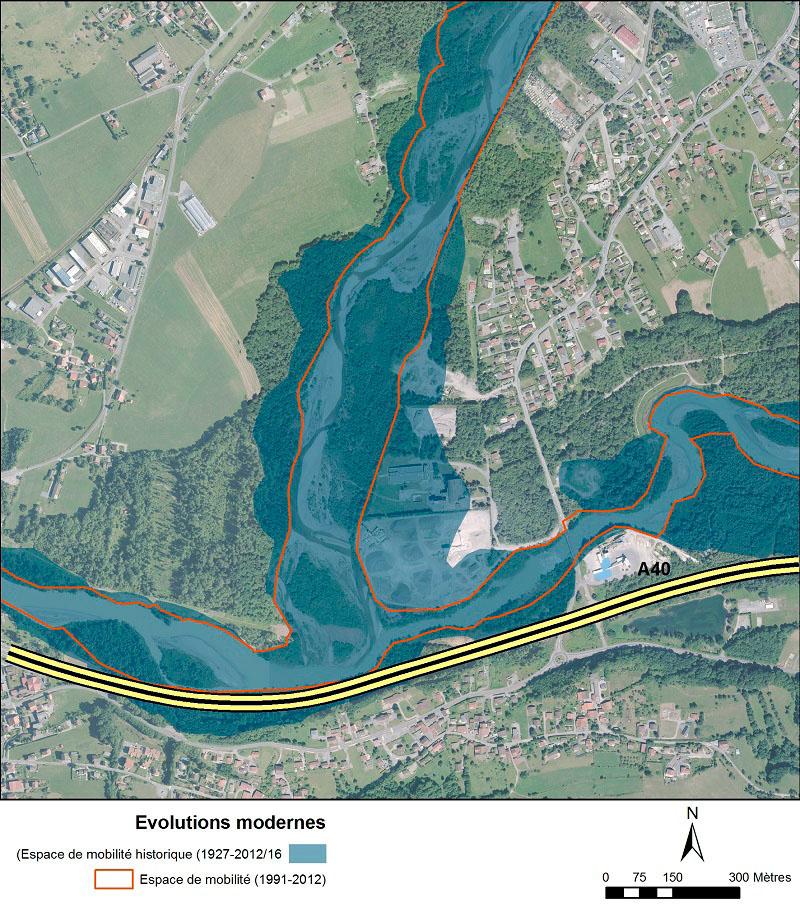 Vue aérienne de la confluence entre le Griffre et l'Arve, avec des surcouches d'informations géoréférencées