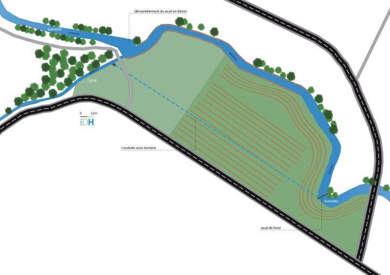 Dans le cadre de la maîtrise d'œuvre de la continuité écologique des rivières Gizia et Sonnette, une illustration (vue en plan) niveau esquisse du projet