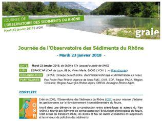 Début du programme de la journée de l'Observatoire des Sédiments du Rhône
