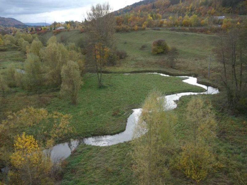 Vue par drone sur le lange reméandré par Dynamique Hydro un an après les travaux