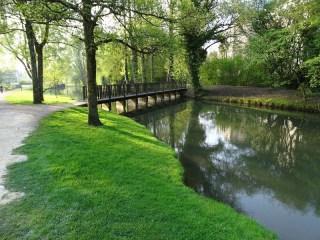 Reyssouze : une passerelle piétonne au dessus de la rivière qui traverse le parc des Baudières à Bourg-en-Bresse. Les berges sont gazonnées et bordées d'arbres