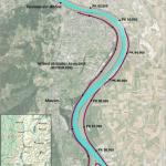 Carte du chenal navigable et de l'endiguement pour l'analyse géomorphologique de l'évolution bathymétrique du Rhône pour la Compagnie Nationale du Rhône CNR