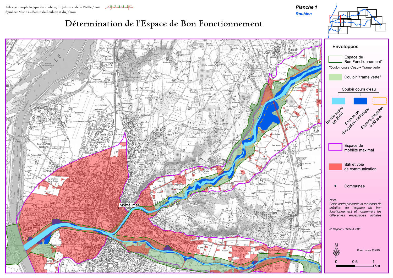 Cartographie SIG sous ArcGis de l'EBF Espace de bon fonctionnement du Roubion