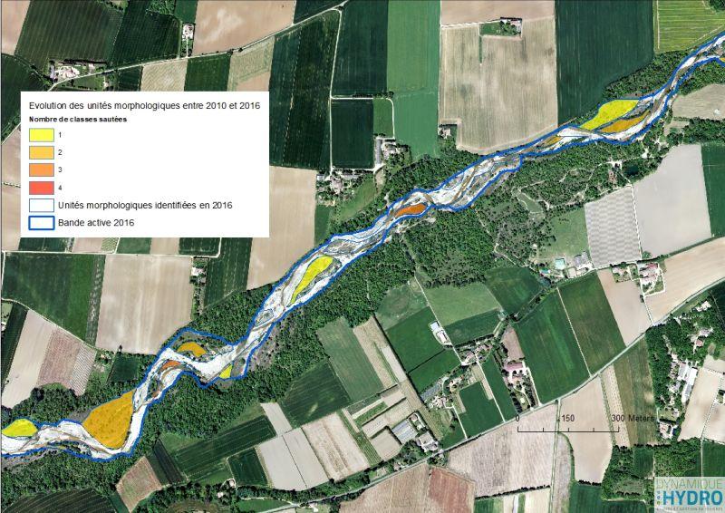 Cartographie de l'évolution des unités morphologiques entre 2010 et 2016 sur la rivière Roubion dans la Drôme