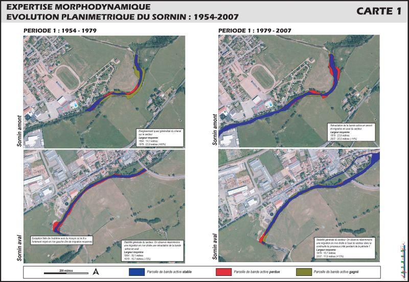 Avant-projet : Quatre cartographies d'expertise morphodynamique : évolution planimétrique du Sornin de 1954 à 2007