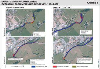 Quatre cartographies d'expertise morphodynamique : évolution planimétrique du Sornin de 1954 à 2007