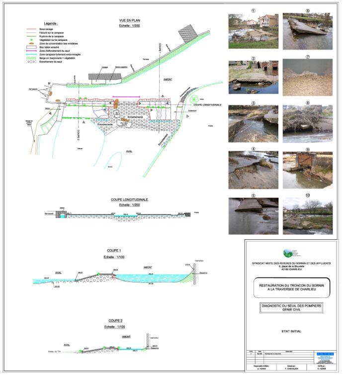 Avant-projet : Plan du seuil des Pompiers. Crédit : IGIOA