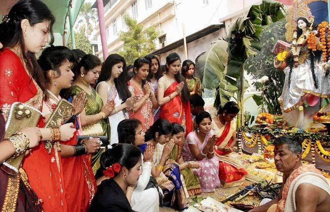Image result for saraswati puja in school