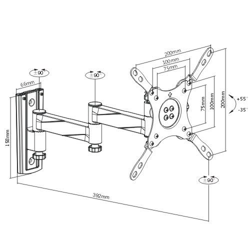 . BRATECK 13-42'' Articulating monitor wall mount bracket