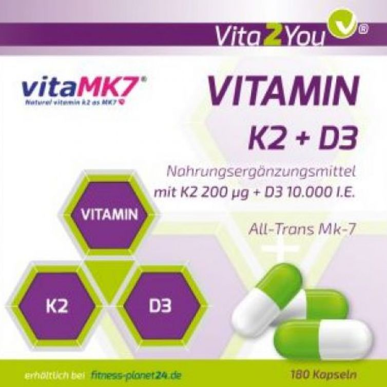 Vitamin K2+D3 – 180 Kapseln – Vitamin K2 200μg (Mk-7) + D3 10.000 IE – Premium Qualität