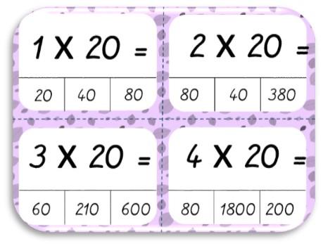 Cartes A Pinces Pour Multiplier Par 20 30 40 50 60 Dys E Moi