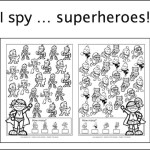 New freebie: I spy ... superheroes, I spy, dyslexia, dyscalculia, AFS-method, perception, visual perception, spatial perception, worksheet, parents, children, homeschooling, freebie