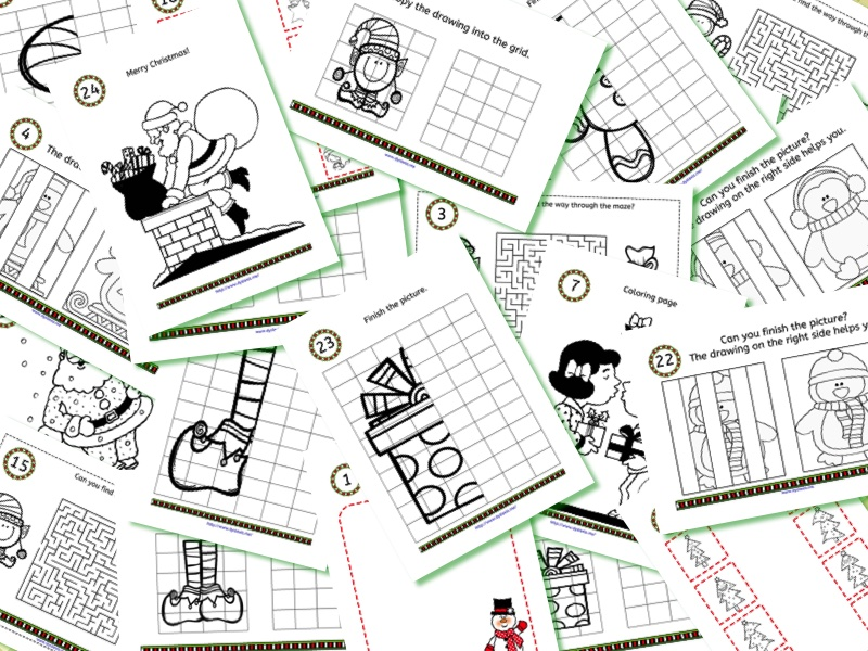 Christmas calender, christmas, dyslexia, dyscalculia, worksheets, free worksheets