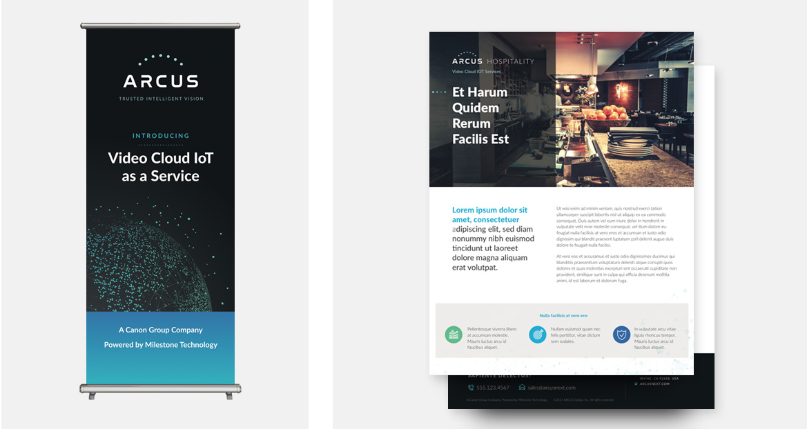 arcus paper handouts and banner