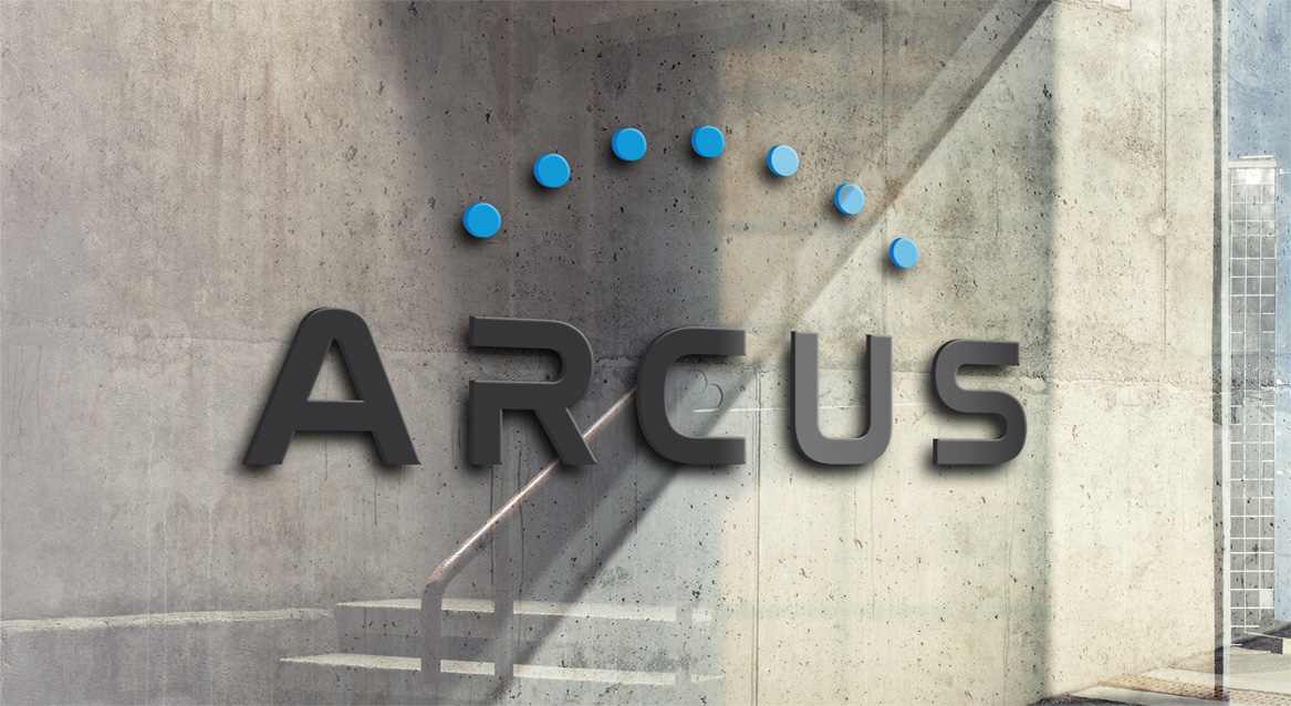 arcus logo on cement wall