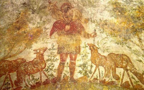 """صورة """"الراعي الصالح"""" من سرداب الموتى المسيحيين في وقت مبكر من Domitilla / Domitilla (سرداب لوسينا، 200-300 م)."""