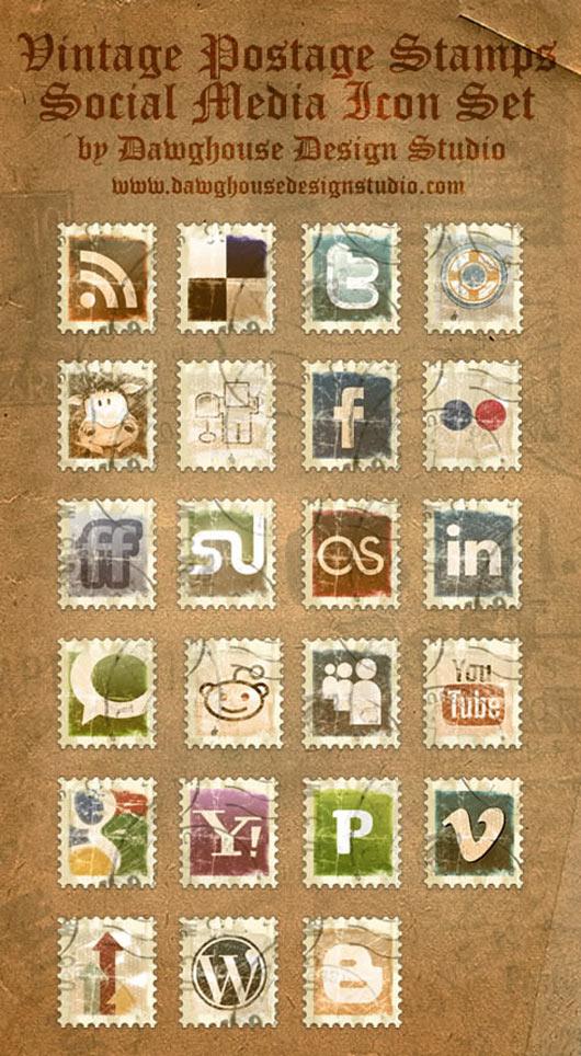 Vintage-Postage-Stamps-Social-Media-Icon-Pack