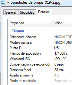 Datos EXIF en Windows Vista